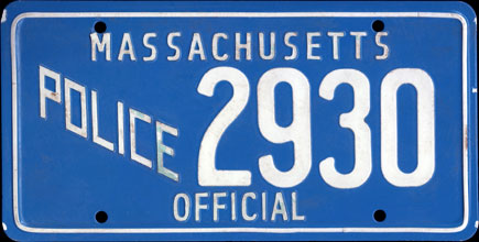 Massachusetts -                       1970 Base Official Police Prop